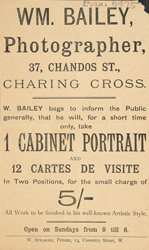 Advertisement for William Bailey, photographer